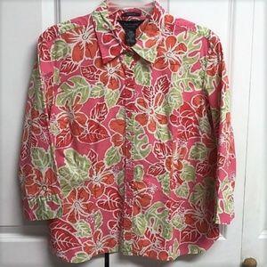 Van Heusen Blouse Size XL Floral Design